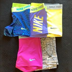 Lot of 5 Nike compression shorts size xs